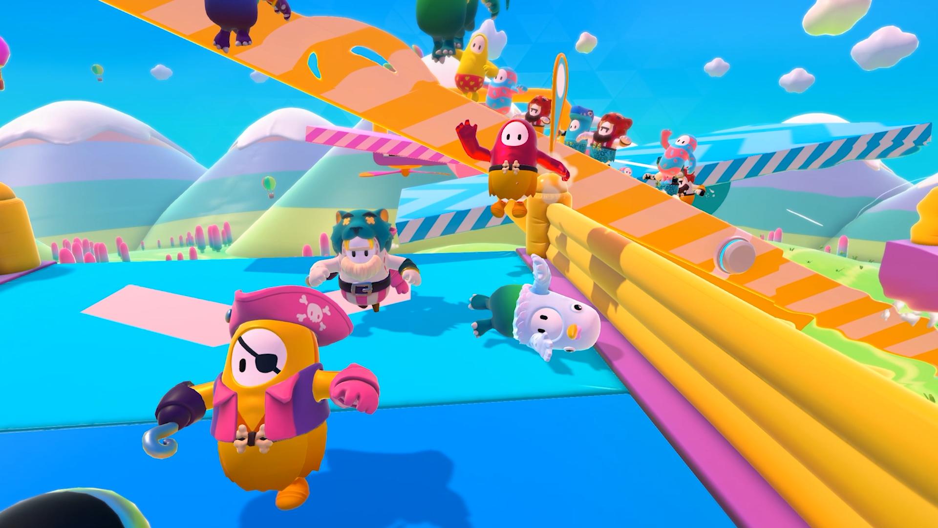 Ilustração promocional de Fall Guys mostrando os coloridos personagens disputando provas